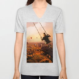 Swinging with Balloons by GEN Z Unisex V-Neck