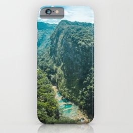 Aerial view of the natural turquoise pools of Semuc Champey, Guatemala iPhone Case