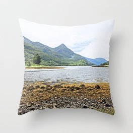 Loch view watercolour, Kinlochleven, Scotland Throw Pillow