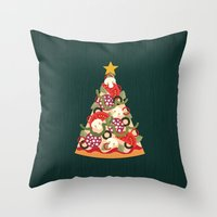 Throw Pillows featuring PIZZA ON EARTH by Daisy Beatrice
