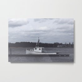 Little white boat in New England Metal Print