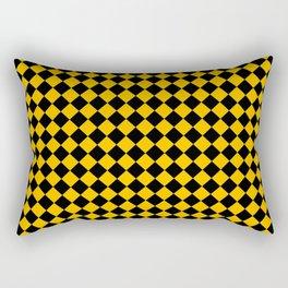 Black and Amber Orange Diamonds Rectangular Pillow