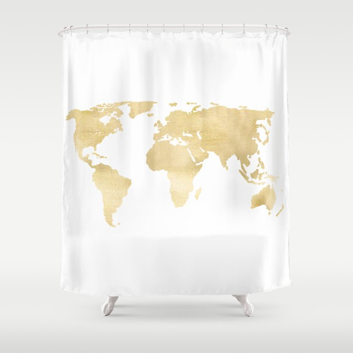 Gold World Map Shower Curtain By Tangerinetane