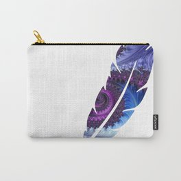 Feathery Flow Feather Cutout - Fractal Art Carry-All Pouch
