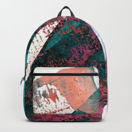 Laughter: a vibrant, colorful, minimal abstract piece in teal, pink, gold, and white Backpack