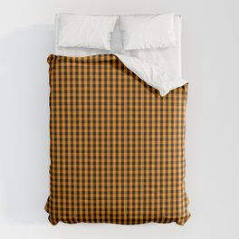 Small Pumpkin Orange and Black Gingham Check Plaid Comforters