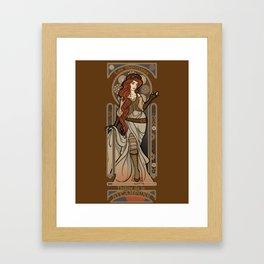 Steampunk Nouveau 2- Brown Framed Art Print