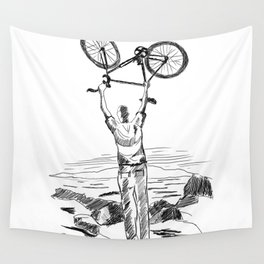 Bike Contemplation - light background Wall Tapestry
