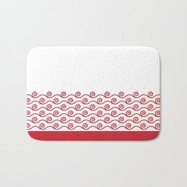 Waves Trim Pattern Flame Red Bath Mat