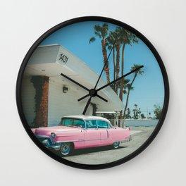 Pink Vintage Car Las Vegas Palm Trees Wall Clock