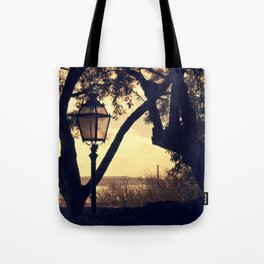 Sunset Silhouette: Latern and Lisboa Tote Bag