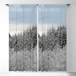 Winter Wanderlust Woods V - Snow Capped Forest Nature Photography Blackout Curtain