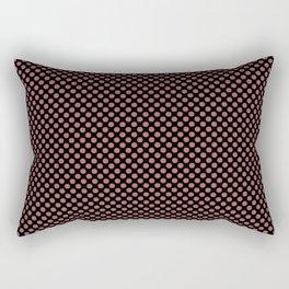 Black and Dusty Cedar Polka Dots Rectangular Pillow