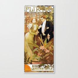 Alphonse Mucha Flirt Vintage Romantic Art Nouveau Canvas Print