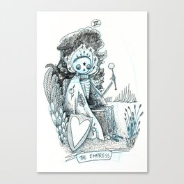 The Empress Skeleton Tarot Canvas Print