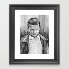 Stranger Things Eleven Watercolor Painting Black and White Framed Art Print