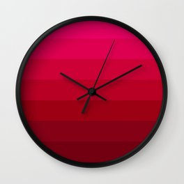 Pink and Red Stripes Wall Clock