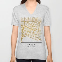 PERTH AUSTRALIA CITY STREET MAP ART Unisex V-Neck