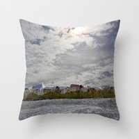 rileigh smirl Throw Pillows featuring At the Beach by Rileigh Smirl