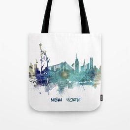 New York City Skyline blue Tote Bag