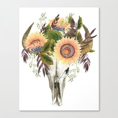 Bohemian bull skull with flowers Canvas Print