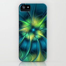 Flourish and Blue, Abstract Fractal Art iPhone Case