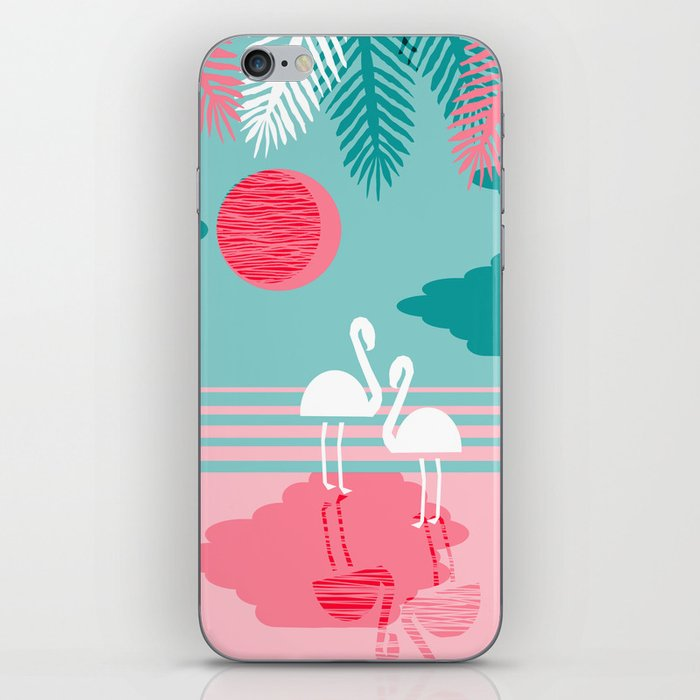 Chill Vibes - memphis retro throwback 1980s 80s neon pop art flamingo paradise socal vacation iPhone Skin