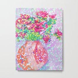 Mosaic Peonies Metal Print