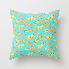 Yellow Chicks in Blue Throw Pillow