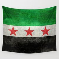 "islam Wall Tapestries featuring The Syrian ""independence flag""  retro style version by Bruce Stanfield"