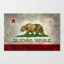 Californian flag the Bear flag in retro grunge Canvas Print