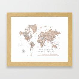 Where I've never been detailed world map in taupe Framed Art Print