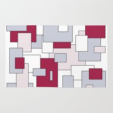 Squares - gray, purple, gray and white. Rug