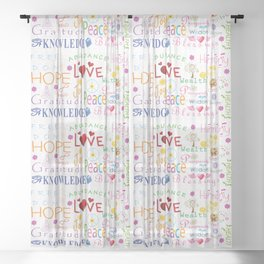 Inspirational Words Sheer Curtain