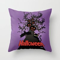 halloween Throw Pillows featuring Halloween by BATKEI