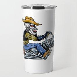 skull ride a big motorcycle Travel Mug