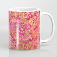 baroque Mugs featuring Hot Pink and Gold Baroque Floral Pattern by micklyn