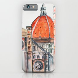 Florence Italy illustration, Firenze duomo iPhone Case