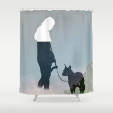FRIENDSHIP in the space Shower Curtain