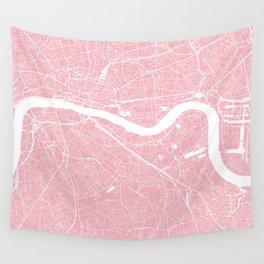 London, UK, City Map - Pink Wall Tapestry