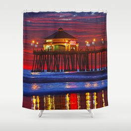 Sunset at Ruby's Surf City Diner   12/16/13 Shower Curtain