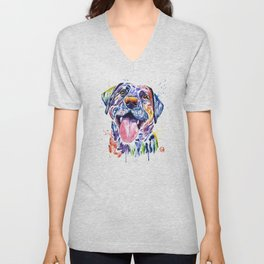 Black Lab Colorful Watercolor Pet Portrait Painting Unisex V-Neck