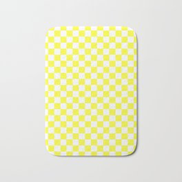 White and Electric Yellow Checkerboard Bath Mat