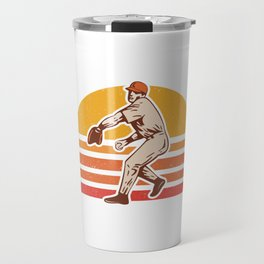 Retro Vintage Baseball Pitcher Gift Baseball Lover Travel Mug