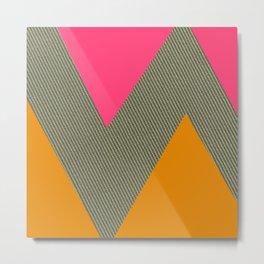 Pink & Orange Zig Zag Tweed Metal Print