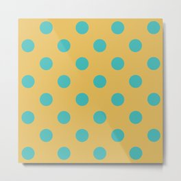 Blue and Yellow Polka dots Metal Print