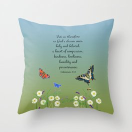 Colossian 3 12 Put On a Heart of Compassion, Kindness  Swallowtail Butterfly Daisies Vetch Throw Pillow