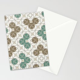 Geometric Octagon and Square Shapes Line Art Jade Green Tobacco Brown Beige Gray Stationery Cards