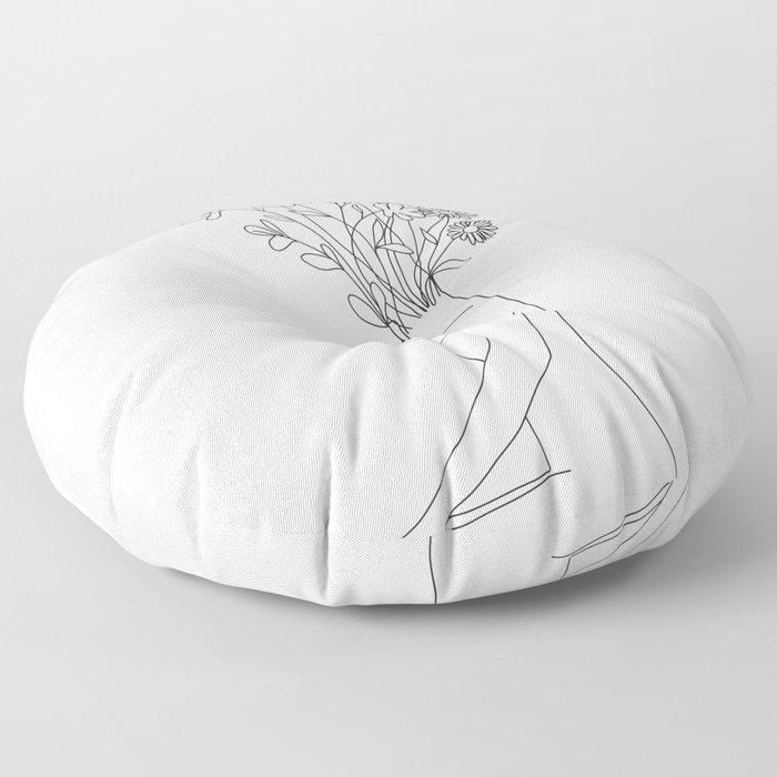 Minimal Line Bloom Floor Pillow