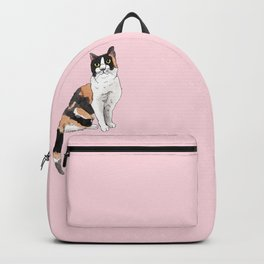 Cat Portrait Calico in Pink Backpack
